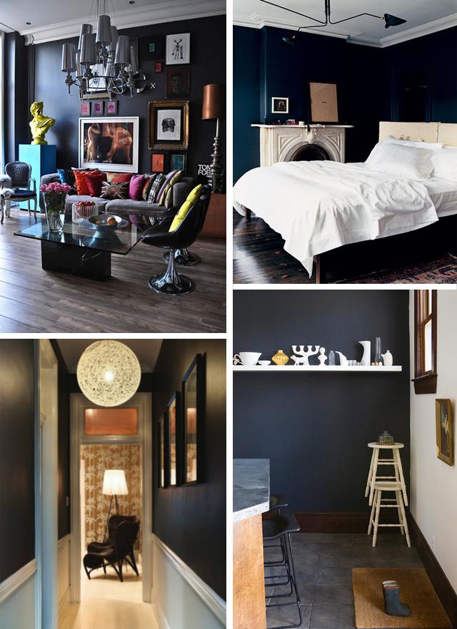decoração com paredes pretas