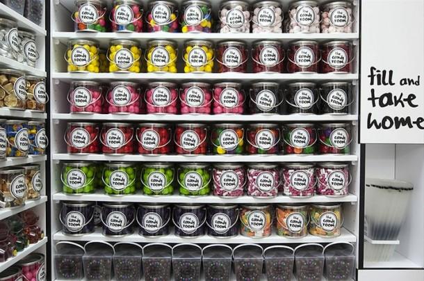 decoração desenhada na loja de doces