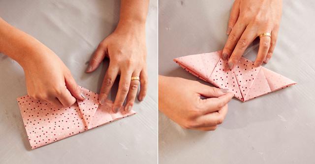 passo a passo apoio de mesa de origami