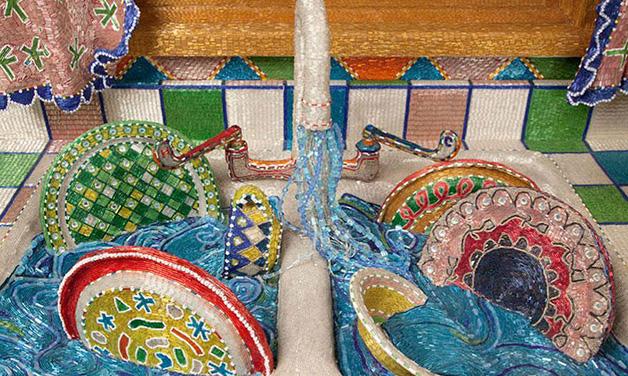 cozinha colorida de micangas