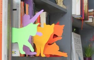 gatos coloridos na estante 7